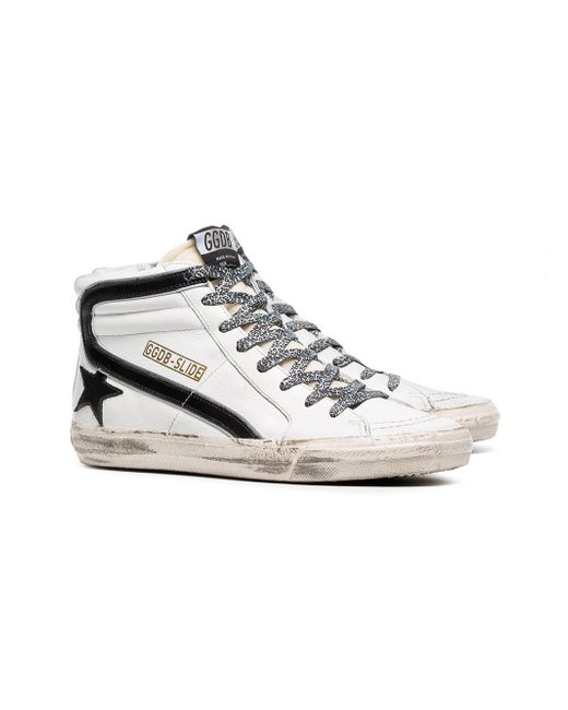 efe583f86ab3 ... Golden Goose Deluxe Brand - Black And White Slide Leopard Lace Leather  High-top Sneakers ...