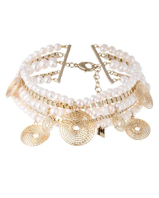 Rosantica - Metallic Armonia Pearl Twisted Chain Choker - Lyst