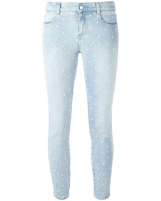 Stella McCartney | Blue Embroidered Star Detail Jeans | Lyst