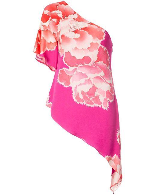 Josie Natori - Pink Peoony Georgette Waterfall Blouse - Lyst