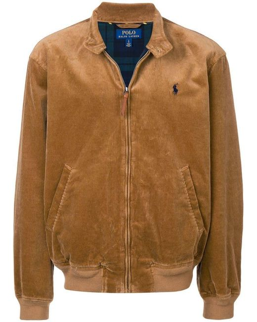 Polo Ralph Lauren - Brown Band Collar Corded Jacket for Men - Lyst ... 306bf1063815f
