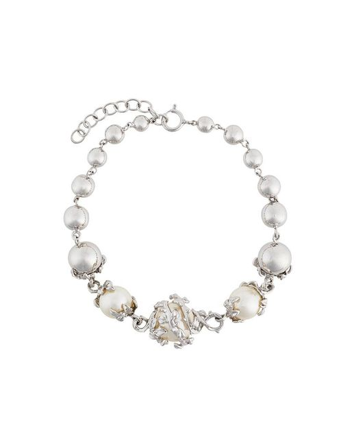 Kasun - Metallic Orb & 3 Pearls Bracelet - Lyst