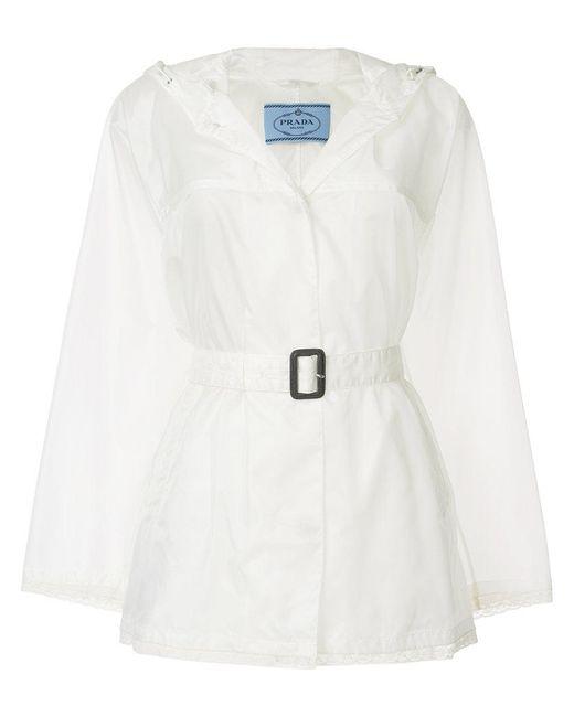Prada - White Belted Lightweight Jacket - Lyst