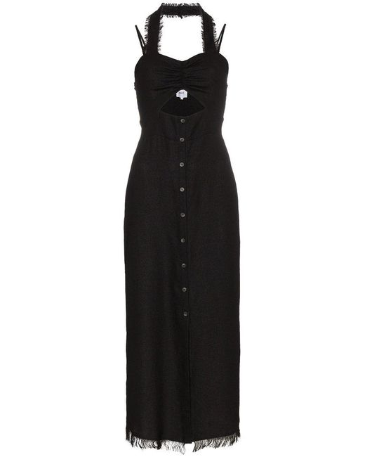 Nanushka - Black Kenzie Tech Button Midi Dress - Lyst