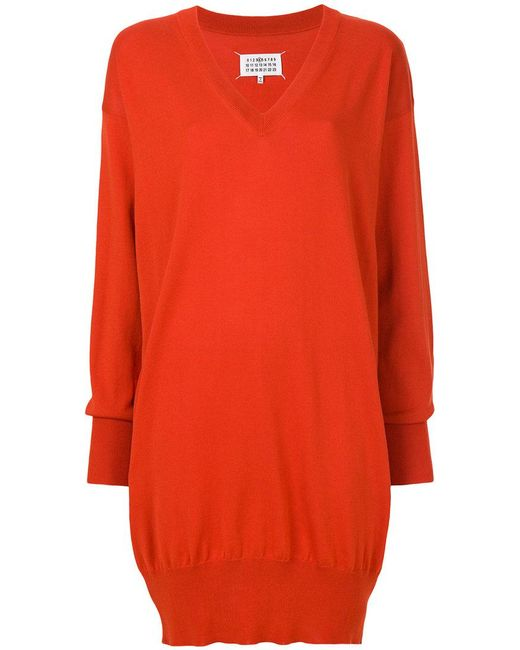 Maison Margiela | Red Slouched Sweater Dress | Lyst