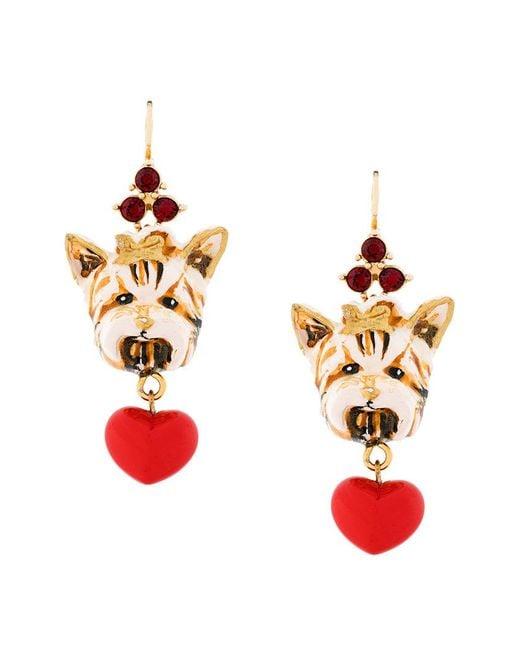 Dolce & Gabbana | Multicolor Dog Charm Earrings | Lyst