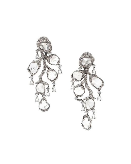Saqqara | Metallic 18kt White Gold And Diamond 'flow' Earrings | Lyst