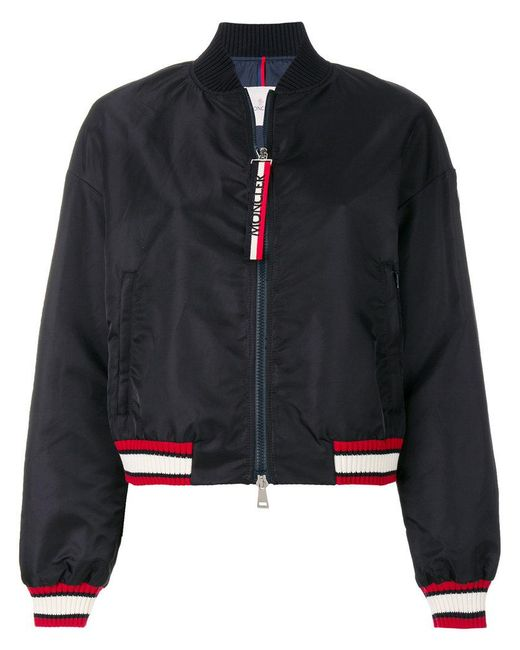 Moncler - Blue Striped Trim Cropped Bomber Jacket - Lyst