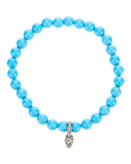 Loree Rodkin | Blue Turqoise Beaded Diamond Skull Charm Bracelet | Lyst