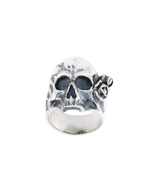 Maison Recuerdo - Metallic Skull Rose Ring for Men - Lyst