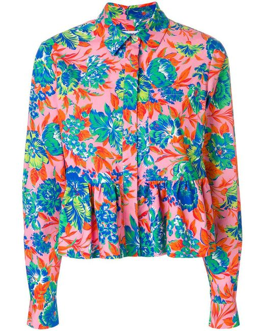 MSGM - Multicolor Tropical Jungle Print Peplum Shirt - Lyst