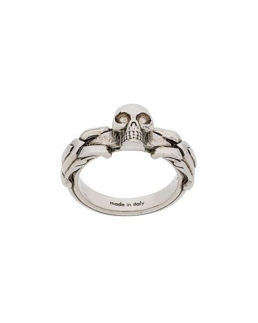 Alexander McQueen - Metallic Skull Embossed Ring for Men - Lyst