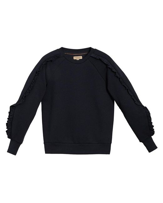 Burberry - Black Ruffled-sleeve Sweatshirt - Lyst