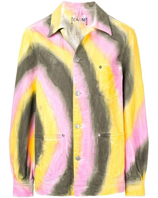 9856fea618a Ganni - Yellow Tie-dye Jacket - Lyst ...
