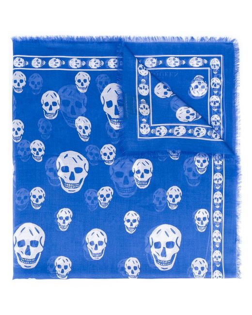 Alexander McQueen | Blue Skull Pattern Scarf for Men | Lyst