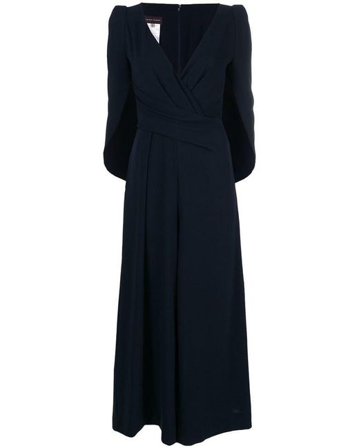 Talbot Runhof - Blue Draped Cape Style Jumpsuit - Lyst