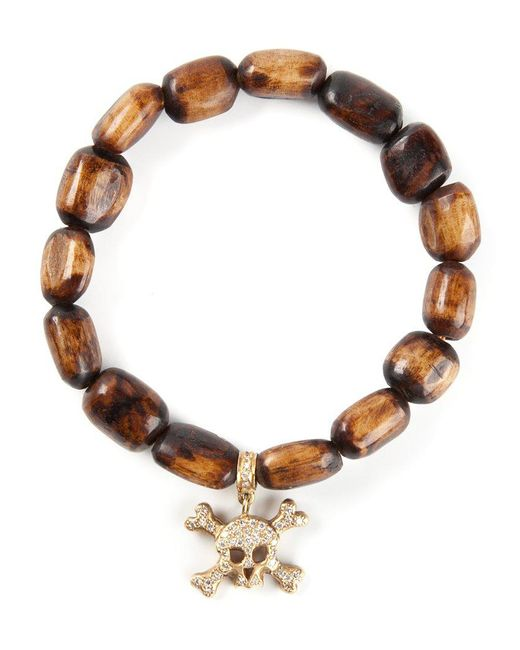 Loree Rodkin | Brown Gold And Diamond Skull Head Bracelet | Lyst