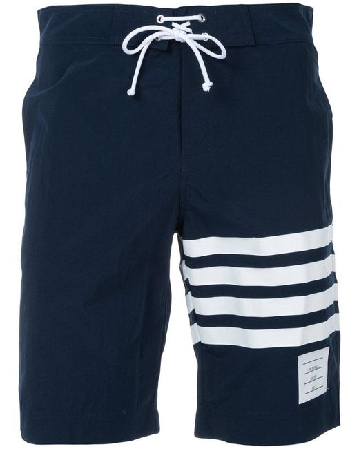 Thom Browne - Blue Striped Detail Swim Shorts for Men - Lyst