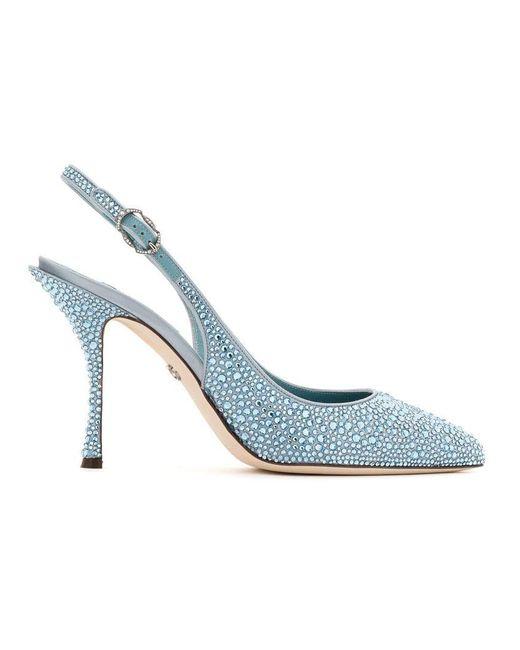 Dolce & Gabbana - Blue Pointed Crystal Embellished Pumps - Lyst
