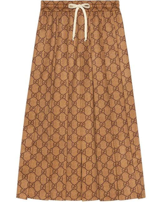 Gucci - Brown GG Technical Jersey Skirt - Lyst