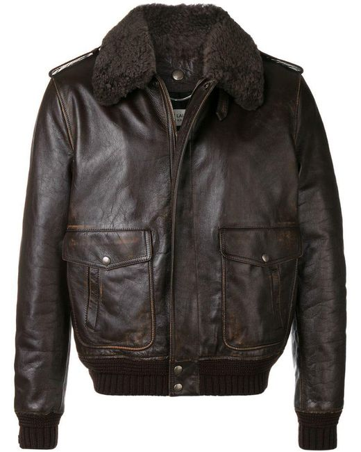 1fd0af13698 Saint Laurent - Brown Biker Jacket for Men - Lyst ...