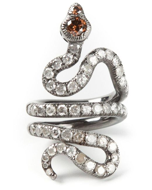 Loree Rodkin - Black Gold And Diamond Pavé Coiled Snake Pinky Ring - Lyst