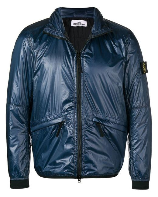 Stone Island - Blue Metallic Padded Jacket for Men - Lyst