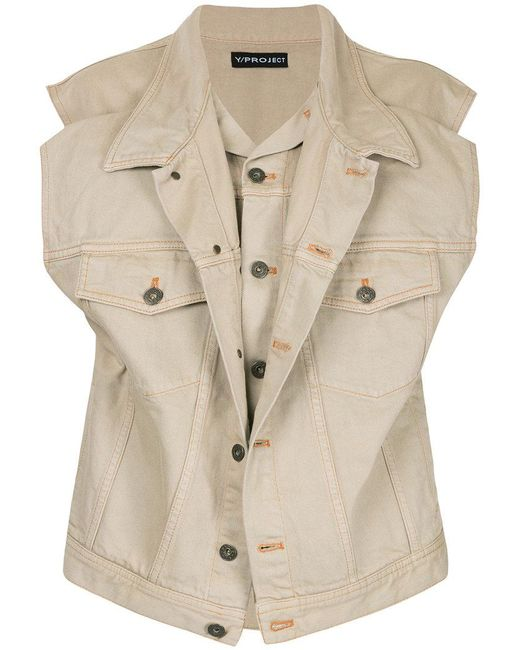Y. Project - Brown Layered Denim Vest - Lyst