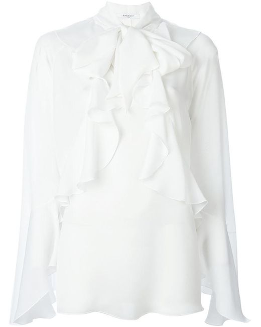 Givenchy - White Ruffled Placket Blouse - Lyst