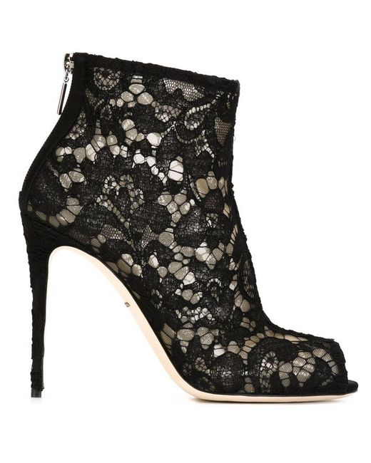 Dolce & Gabbana - Black Taormina Lace Ankle Boots - Lyst