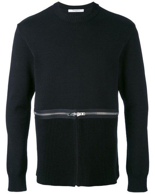 Givenchy | Black Zip Detail Sweatshirt for Men | Lyst