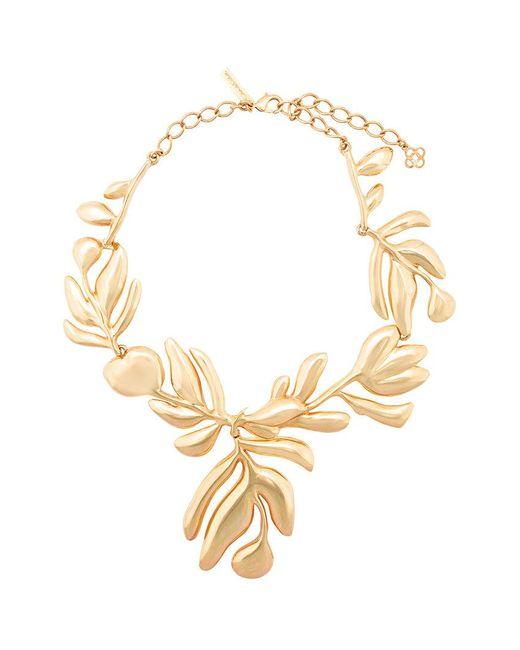 Oscar de la Renta | Metallic Graphic Botanic Necklace | Lyst