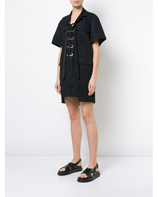 b11f525930 Lyst - Sacai Eyelet Laced Shirt Dress in Blue - Save 30%