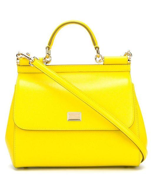 Dolce & Gabbana | Yellow Medium 'sicily' Tote | Lyst