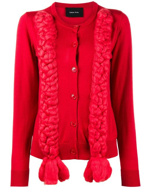 Simone Rocha - Red Silk Braided Cardigan - Lyst
