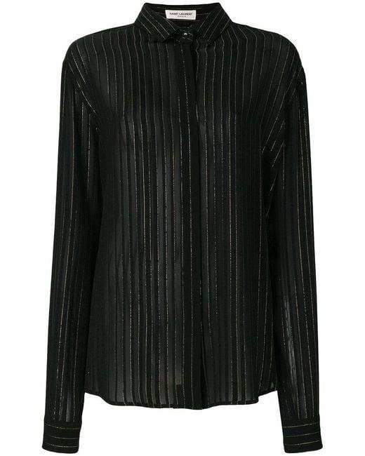 Saint Laurent - Black Sheer Striped Shirt - Lyst
