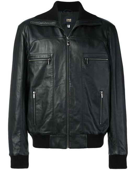 f303323e645 Class Roberto Cavalli - Black Leather Bomber Jacket for Men - Lyst ...