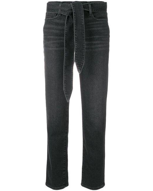 FRAME - Black Le Nouveau Belted Straight Leg Jeans - Lyst