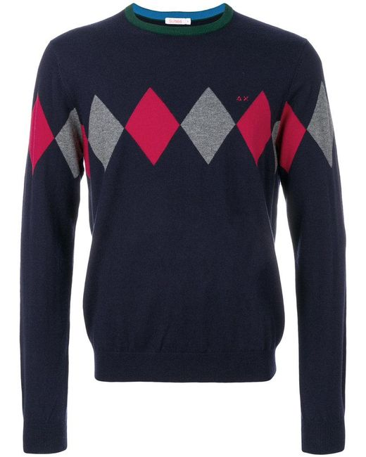 Sun 68 | Blue Argyle Knitted Sweater for Men | Lyst