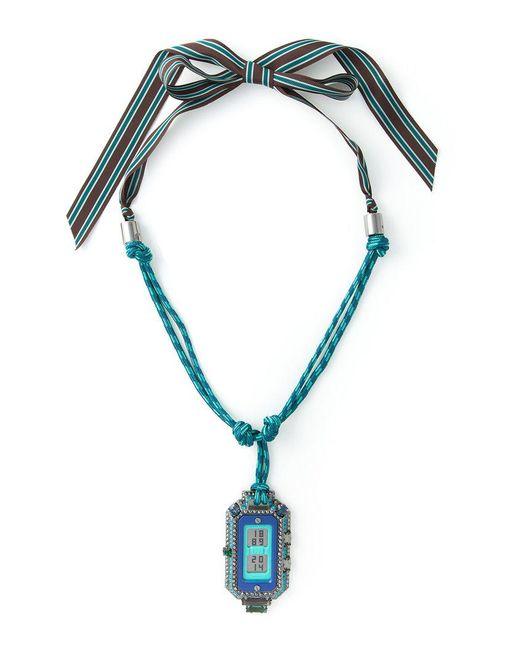 Lanvin | Blue Digital Watch Pendant Necklace | Lyst
