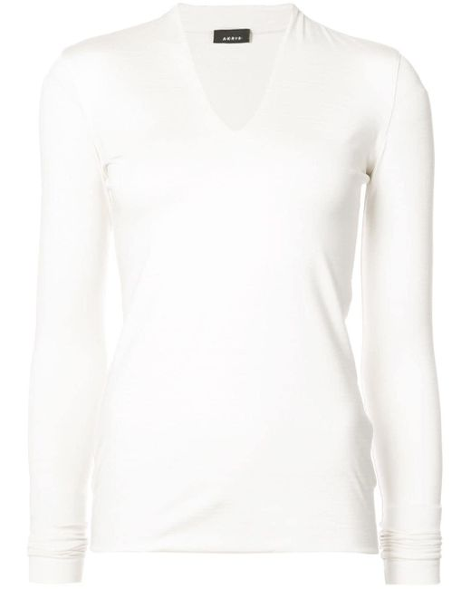 Akris - White Skinny V Neck Top - Lyst