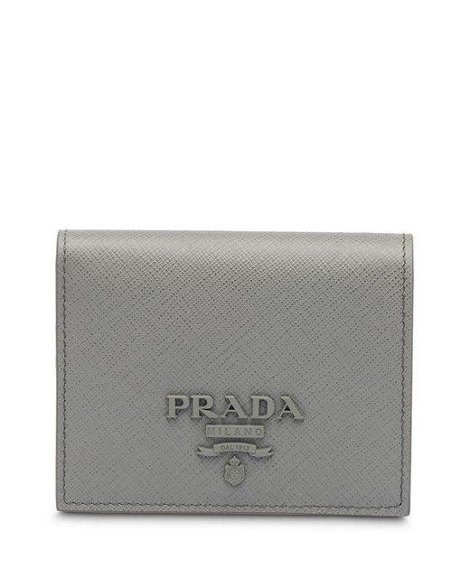 f74259bbb0ff13 Prada - Gray Small Saffiano Leather Wallet - Lyst ...