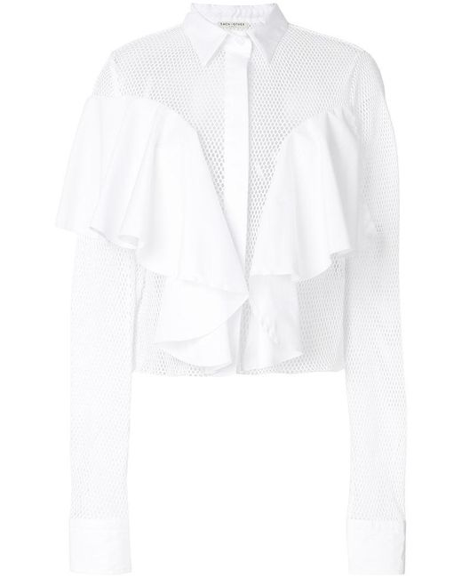 Each x Other - White Ruffle Detail Shirt - Lyst