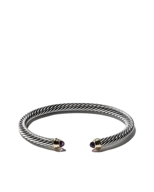 David Yurman - Metallic Cable Classics Sterling Silver Amethyst & 14kt Yellow Gold Accented Cuff Bracelet - Lyst