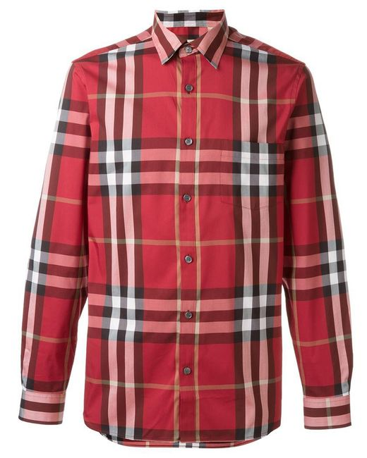 da8806615 Burberry - Red Checked Shirt for Men - Lyst ...