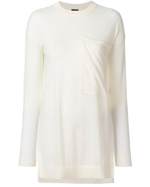Joseph | White Large Chest Pocket Knit Top | Lyst