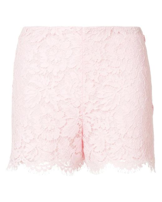 Valentino - Pink High-waisted Lace Shorts - Lyst