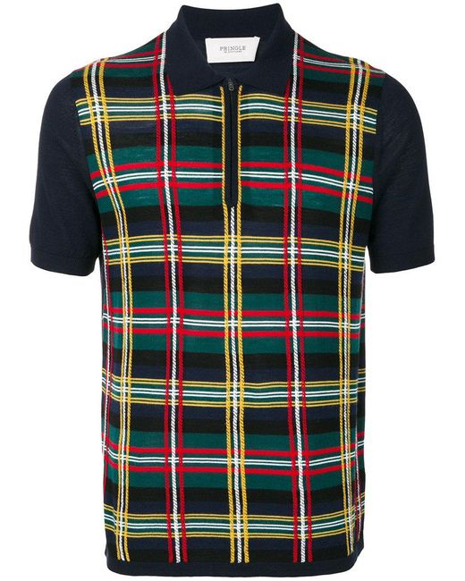 Pringle of Scotland | Blue Knitted Tartan Polo Shirt for Men | Lyst