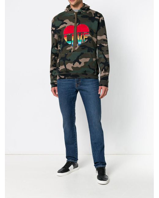 d33a5c5383684 ... Valentino - Green Love Camouflage Hoodie for Men - Lyst ...