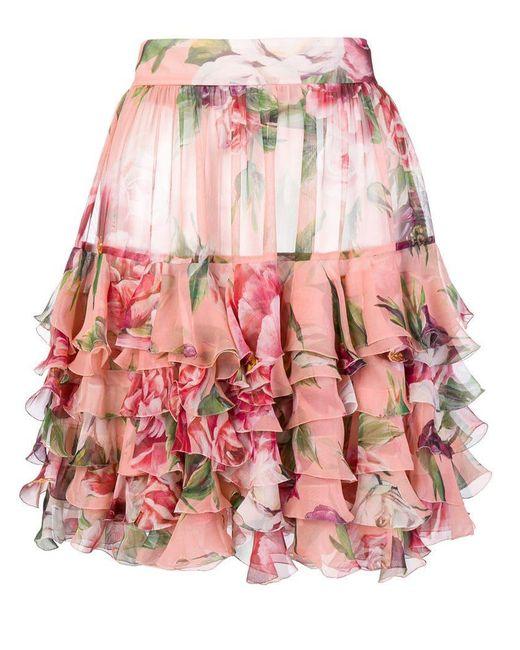Dolce & Gabbana - Pink Peony-print Skirt - Lyst